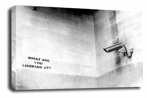 Banksy Art CCTV Spies Wall Canvas Peace Love Picture Print